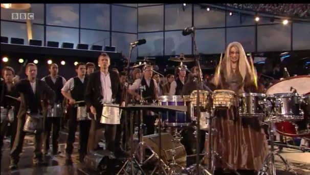 2012 London Olympics Opening Ceremony, Evelyn Glennie Leading Army of Drummers.  Photo courtesy of BBC