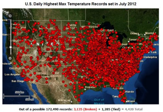 National Climate Data Center, Warmest July on Record