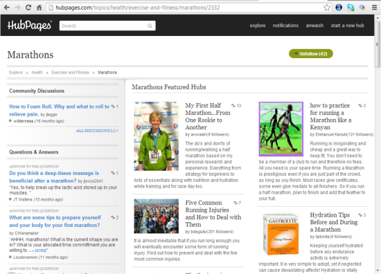 "My article is now top featured - under topic ""Marathon"" by Hubpages over 13,000     views and over 100 each day presently."