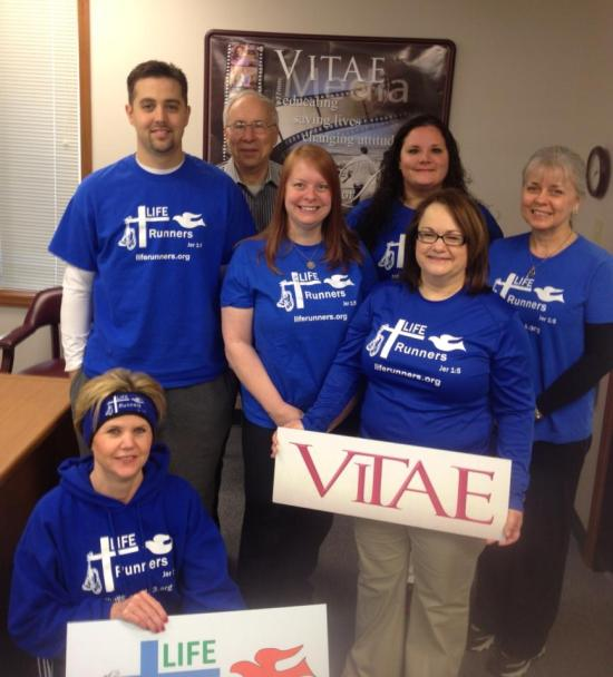 There were 7 of us from Vitae (my office) running in the relay.  Not pictured here isRene Maxey also ran with us.