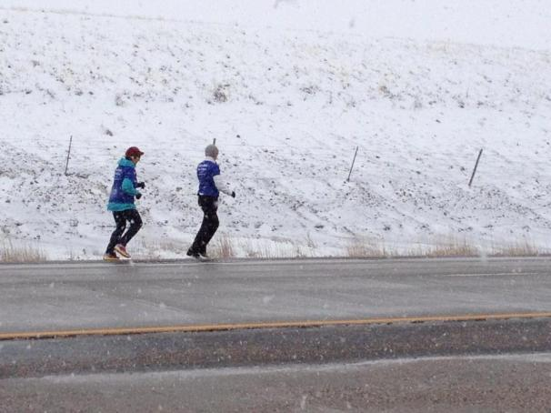 Amy Wagner and Frannie White running in the same relay that came through Central Mo this past week.  Rapid City, SD.