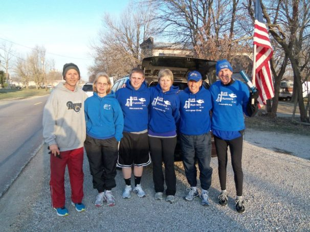 Sarah Black (my niece) and Zach Lauf (Godson and nephew) met the St. Louis LIFE Runners to start the Mid-MO Chapters portion of the Relay.  They are pictured here (Center) with St. Louis LIFE Runners as well as Bill and Kris Pauls.