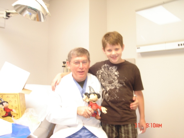 Alex with Dr. Teague at his last visit.