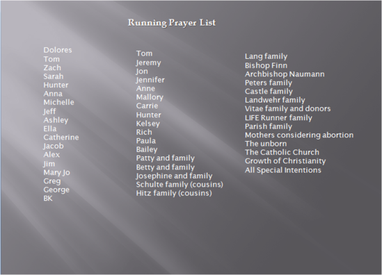 running prayer list