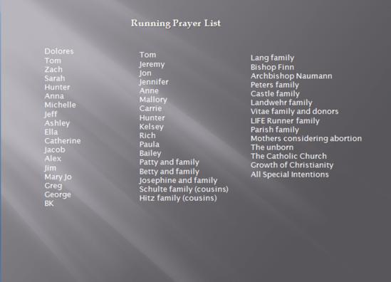 running prayer list